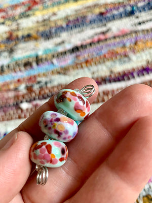 Set of 3 mint lampwork beads with multicolor speckling
