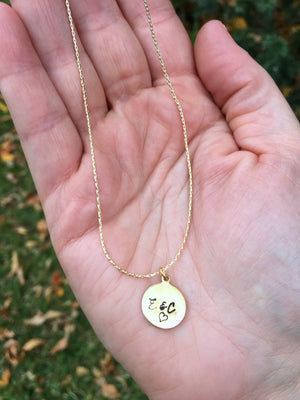 Petite Brass Hand Stamped  Necklace with Initials or Monogram.