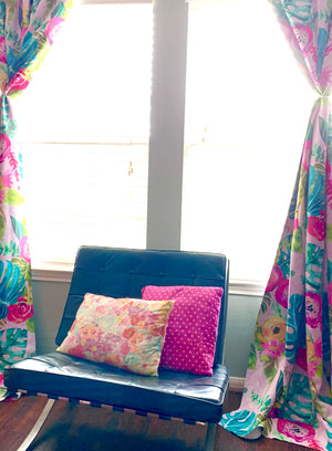 Pink Boho Painted Floral Print Art Curtains.