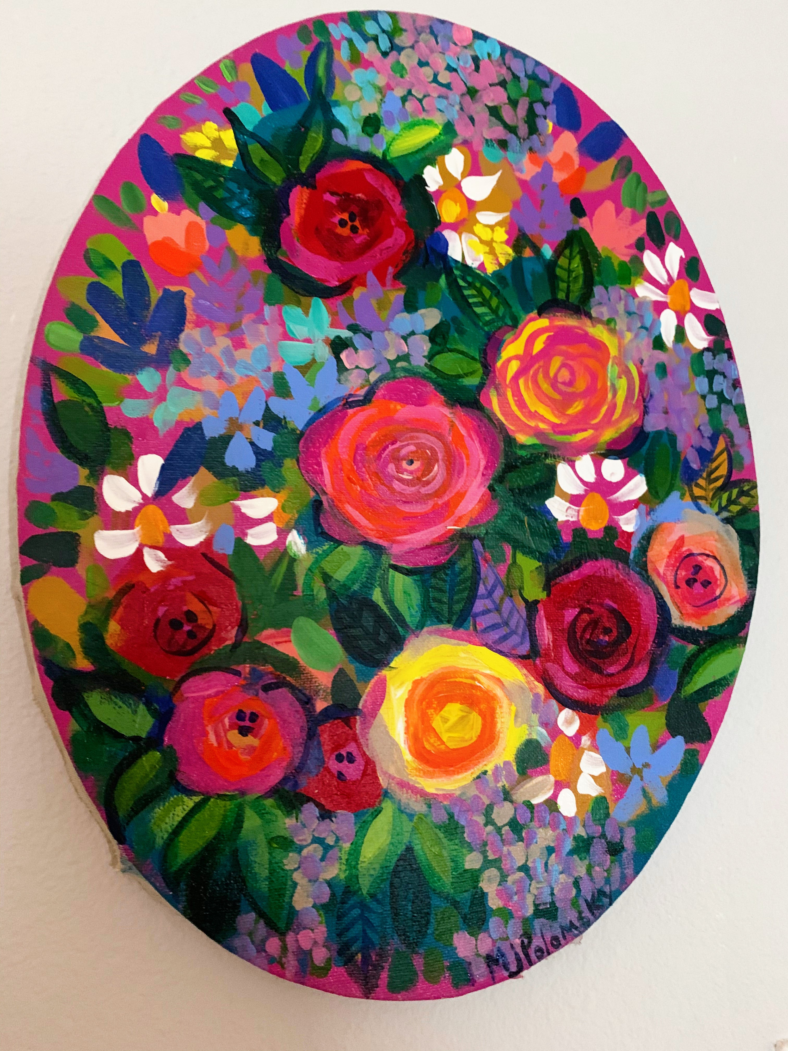 Oval Canvas Floral Painting with Vibrant Colors