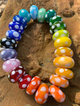 Set of 23 polka dots beads in rainbow colors