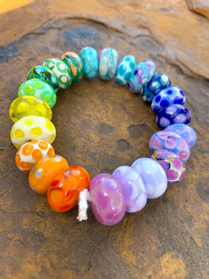 Rainbow Spotty Beads - Set of 22 (as shown)