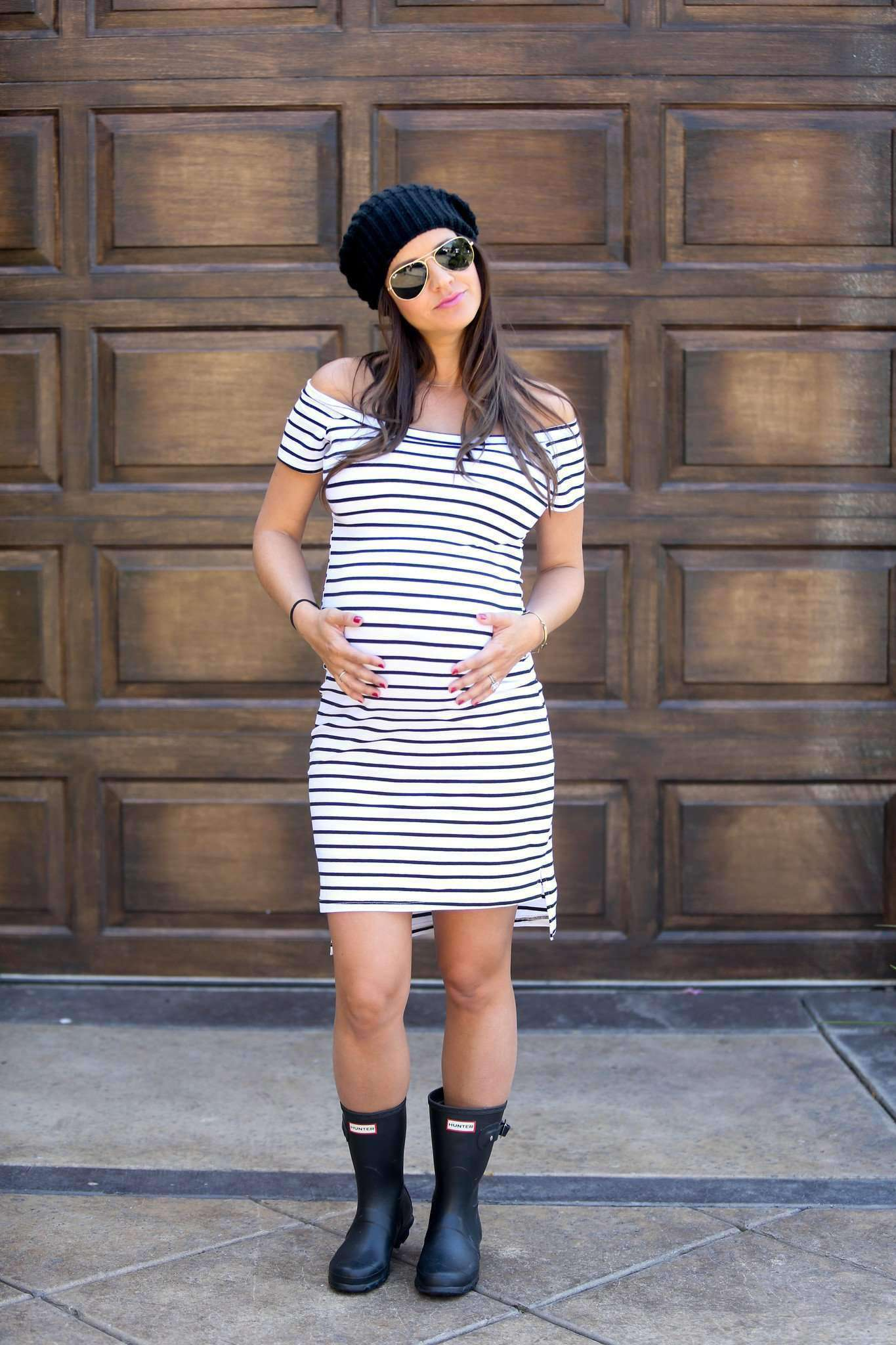Bump & Beyond - White Striped Bardot Maternity Dress