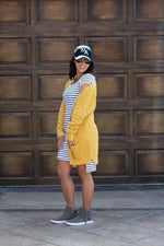 Load image into Gallery viewer, Bump & Beyond - White Striped Bardot Maternity Dress