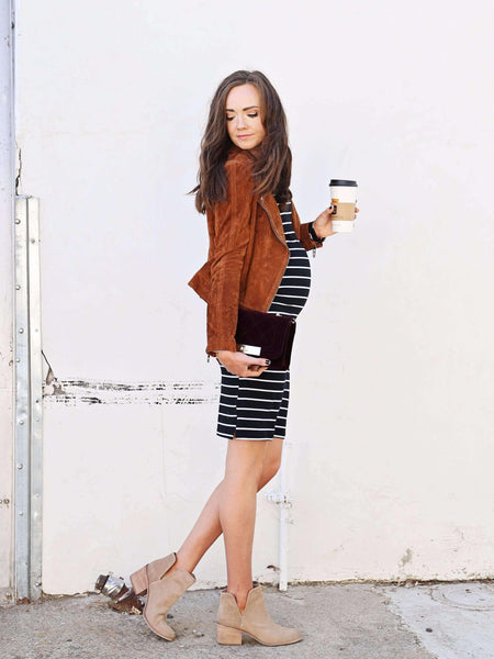 Dress - Black Long Sleeve Striped Bardot Dress