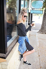 Load image into Gallery viewer, Dress - Black Long Sleeve Striped Bardot Dress