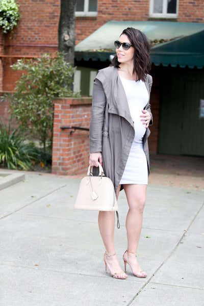 Dress - Grey Bardot Maternity Dress