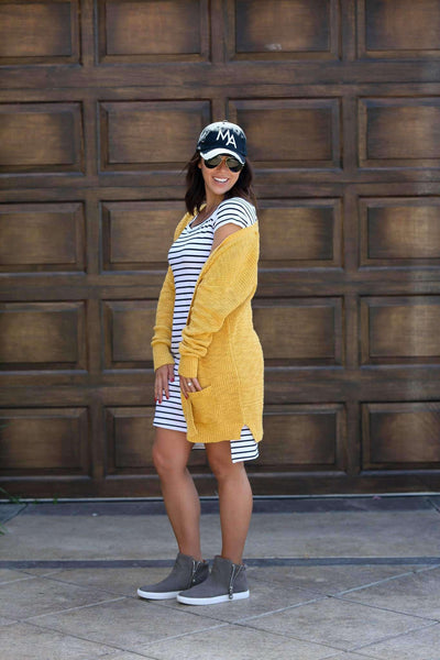 Dress - White Striped Bardot Dress