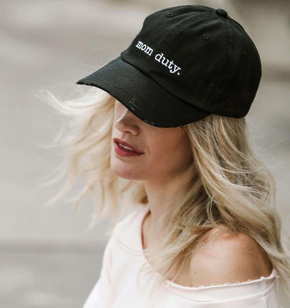 Hats - Distressed Mom Duty Baseball Hat