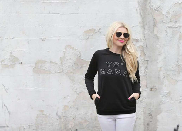 MAMA Wear - FINAL SALE - Yo Mama Stitched Crew Neck Sweatshirt