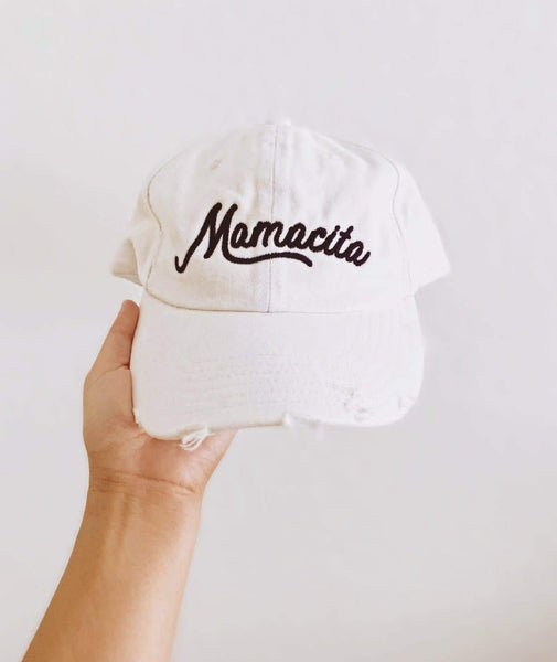 Mamacita Distressed White Baseball Hat