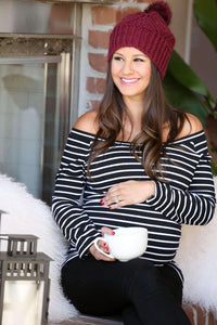 Maternity Shirt - Black Striped Long Sleeve Bardot Maternity Shirt