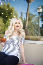 Load image into Gallery viewer, Maternity Shirt - White Striped Short Sleeve Maternity Shirt Bardot
