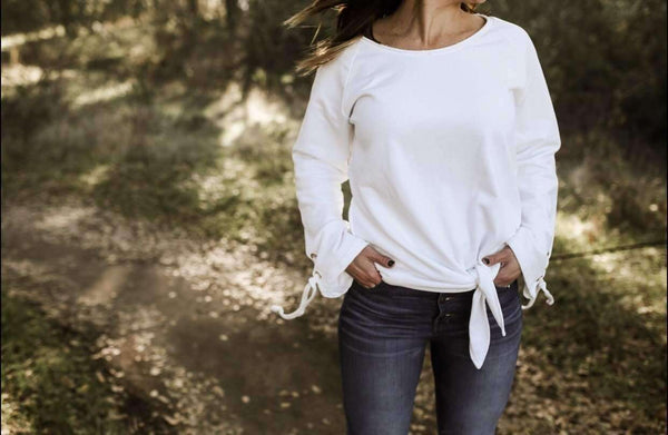 Sweatshirt - FINAL SALE -  Cream Bump And Beyond Knotted Sweatshirt