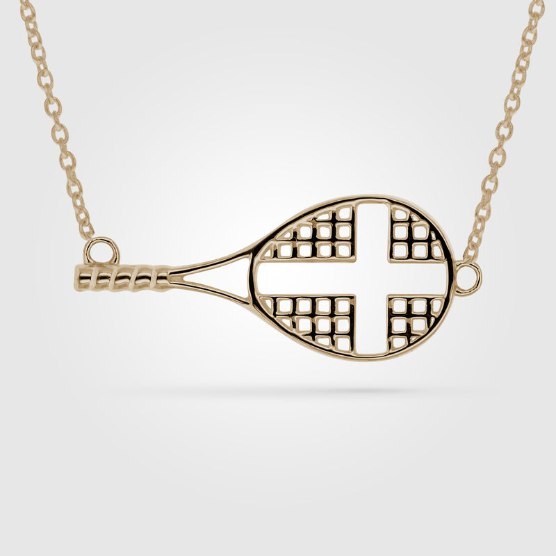 Sideways Tennis Cross Necklace