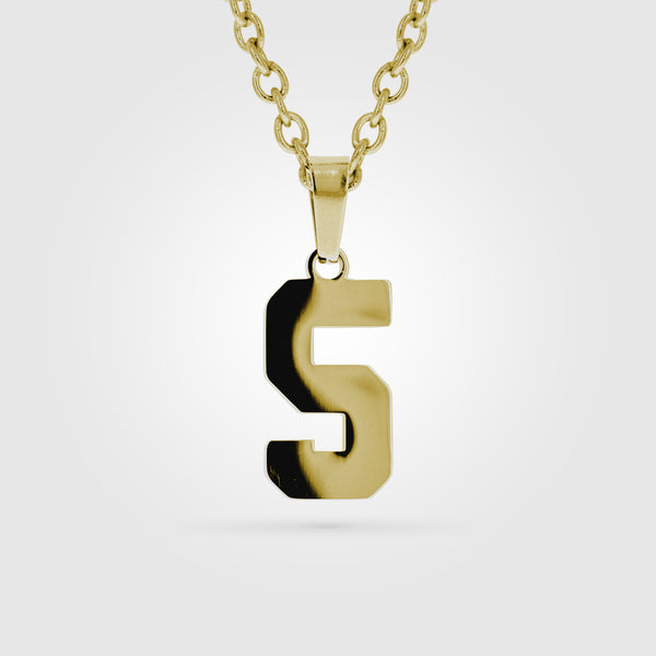 Gold Stainless Steel Custom Number Necklace