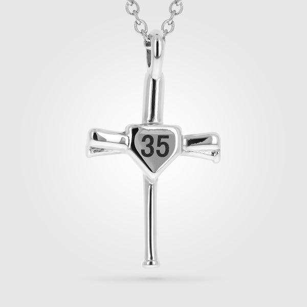 Custom Number Bat Cross Stainless Steel
