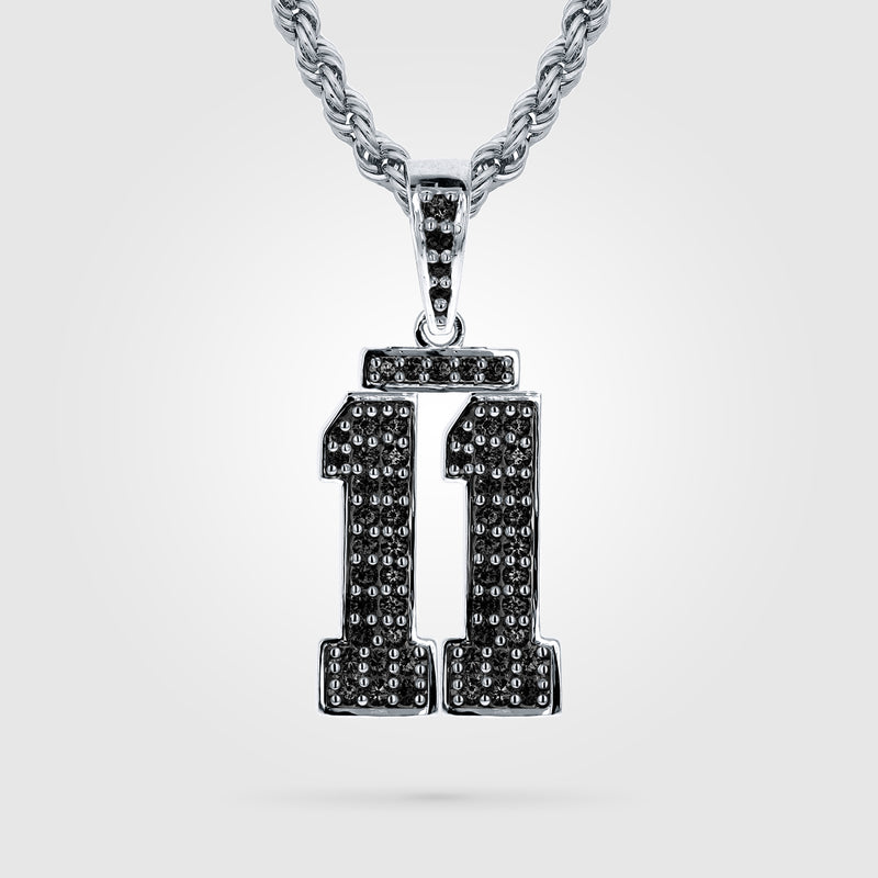 Diamond Studded Custom Double Digit Number Necklace