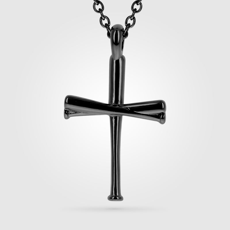 Original Black Stainless Baseball Bat Cross Necklace