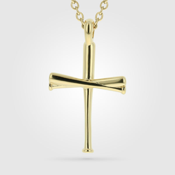 Original Gold Stainless Baseball Bat Cross Necklace