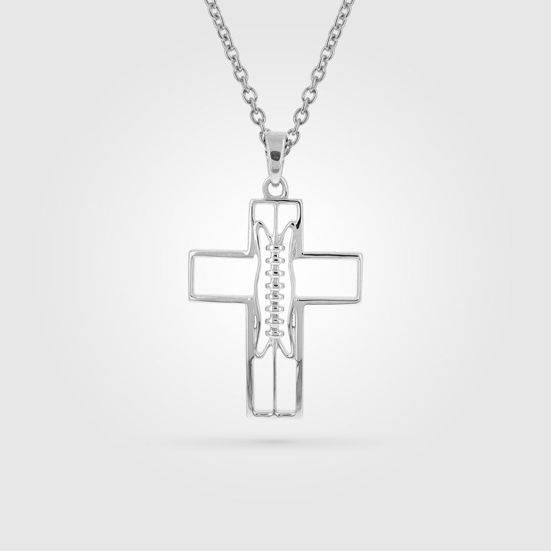 Mini Gridiron Football Cross Necklace