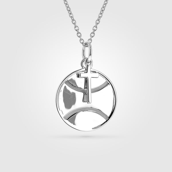 Women's Tennis Necklace With Dangle Cross