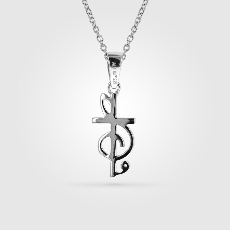 Treble Clef Cross Music Necklace