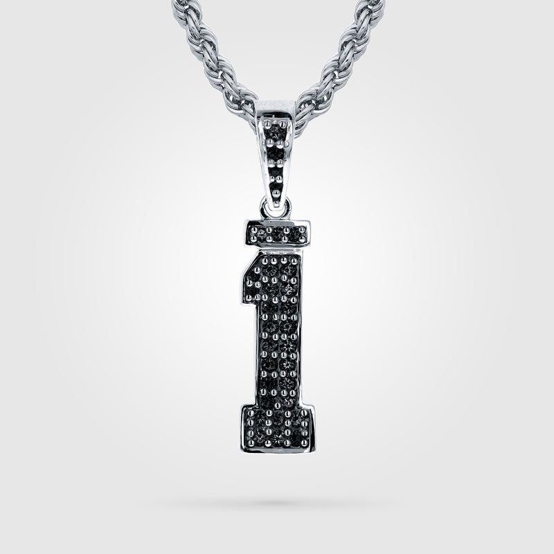 Diamond Studded Custom Single Digit Number Necklace