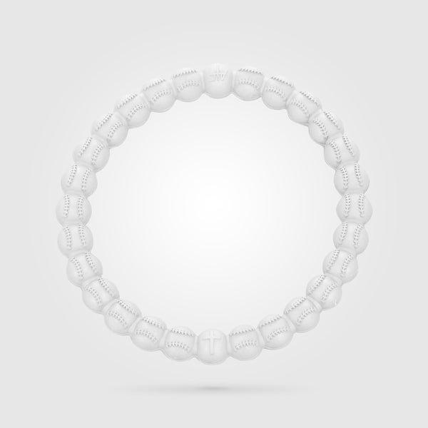 Baseball Power Bracelet Solid White