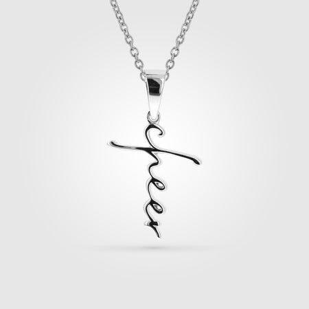 Cheer Cross Script Necklace