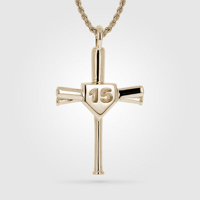 Gold Custom Number Baseball Bat Cross
