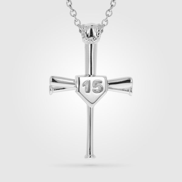 2.0 Custom Number Baseball Bat Cross Necklace