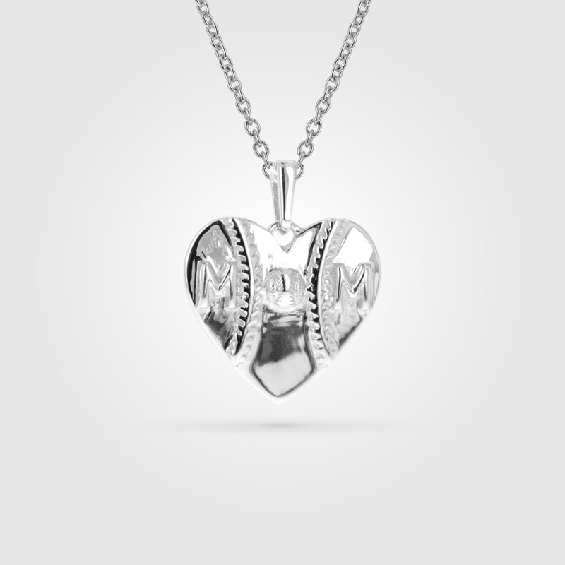 Mom Heart Baseball Necklace