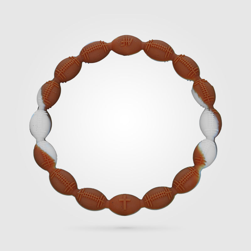 Football Power Bracelet Burnt Orange And White