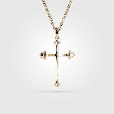 Gold Mini Athlete's Cross Pendant