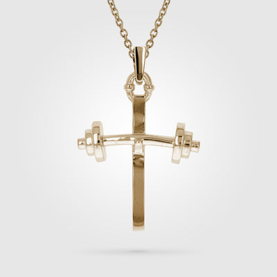 Gold Barbell Small Cross Pendant