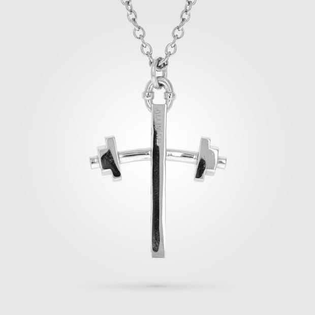 BARBELL LARGE CROSS NECKLACE
