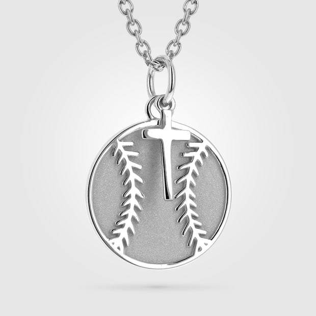 Mini Baseball Pendant Necklace With Dangle Cross