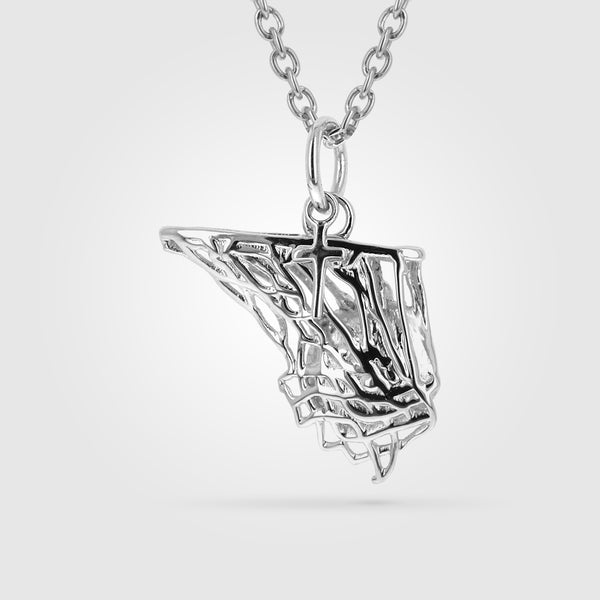 Women's Basketball Net Necklace With Dangle Cross
