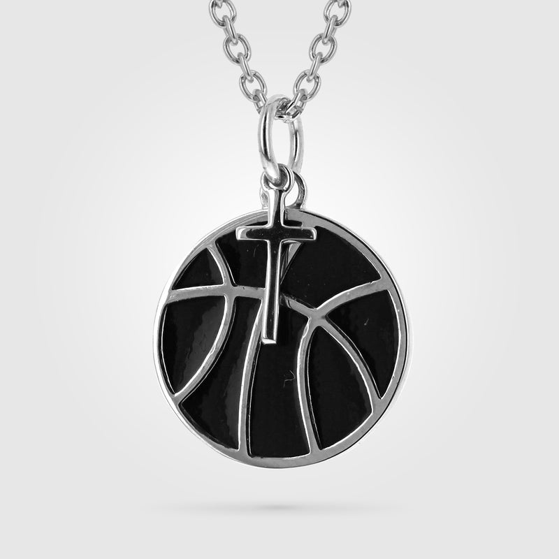 Women's Black Enameled Basketball Necklace With Dangle Cross