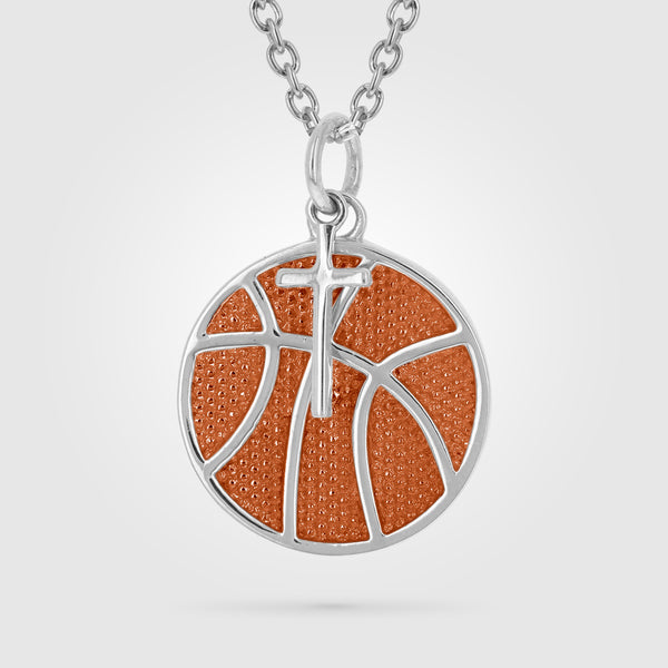 Orange Enameled Women's Basketball Necklace With Dangle Cross