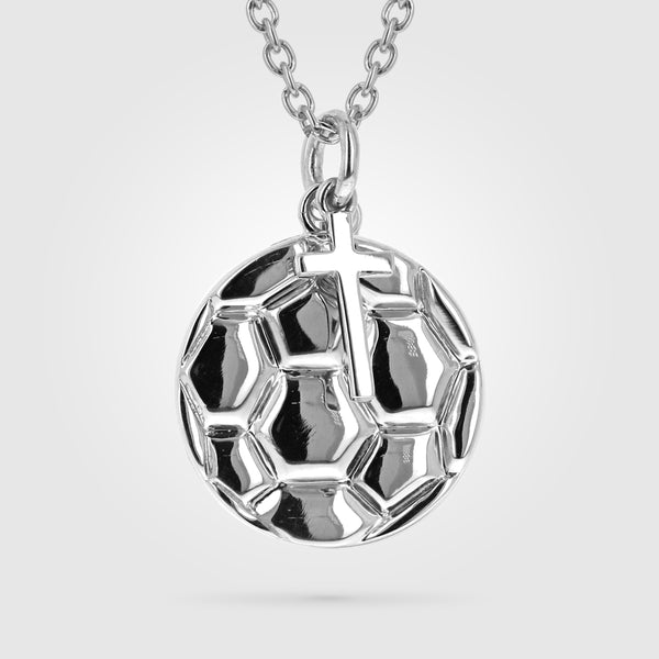 Women's Soccer Ball Necklace With Dangle Cross