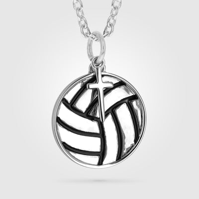 Mini Volleyball Pendant With Dangle Cross
