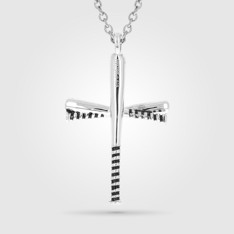 Black Enameled Gripped Baseball Bat Cross Necklace