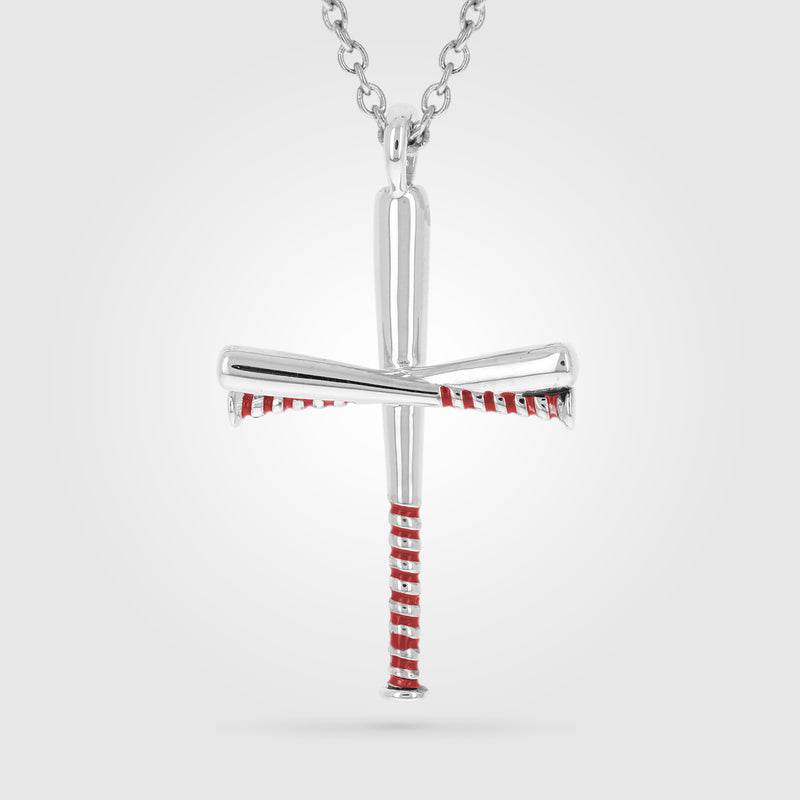 Red Enameled Gripped Baseball Bat Cross Necklace