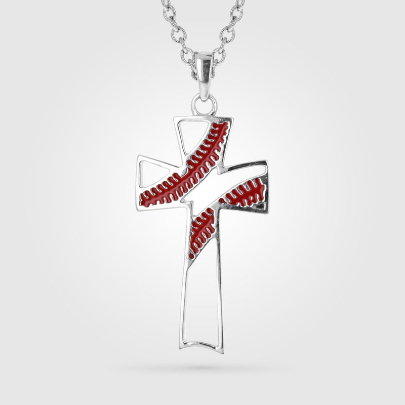 Red Enamel Stitch Cross Necklace