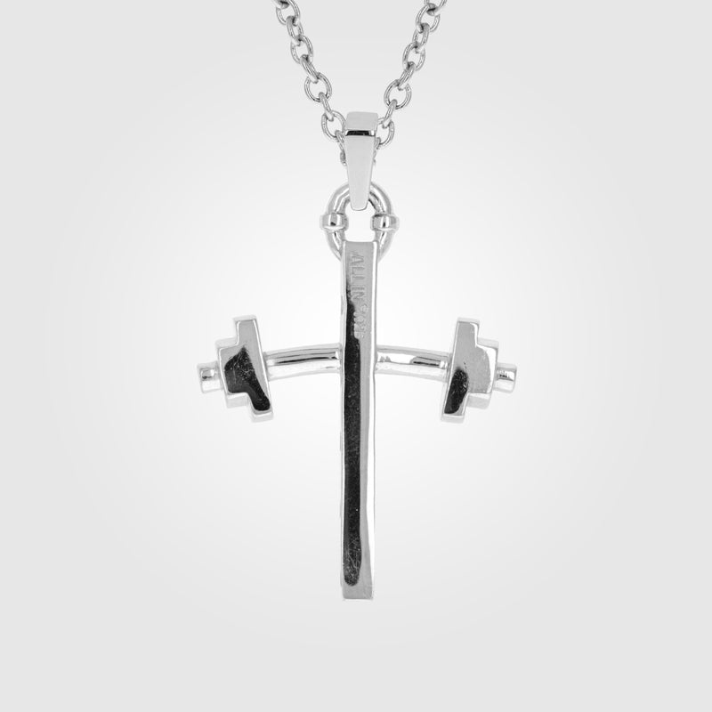 Barbell Small Cross Necklace
