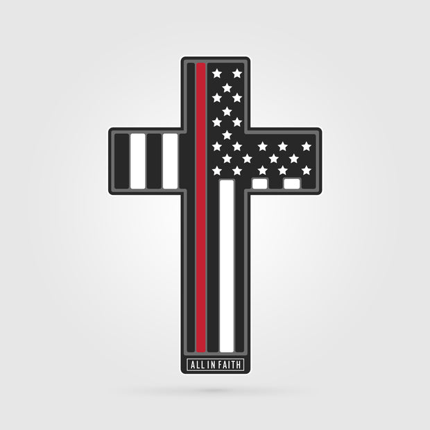 Thin Red Line Firefighter Cross Decal