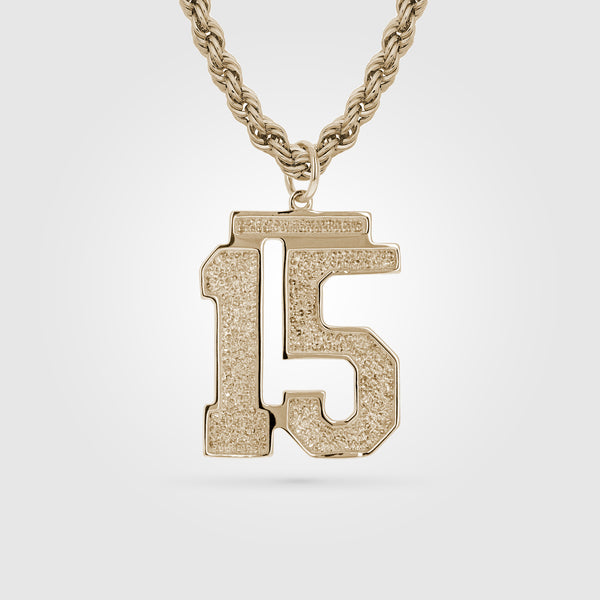 Gold Custom Number Pendant