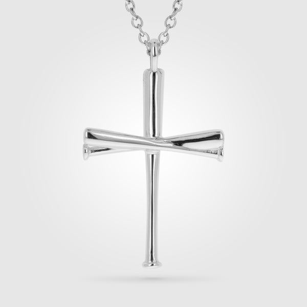 Kid's Baseball Baseball Bat Cross Necklace